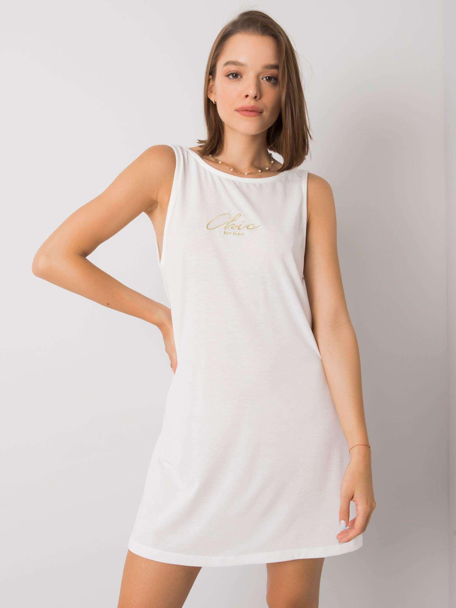 Dámske ecru voľné šaty - XS