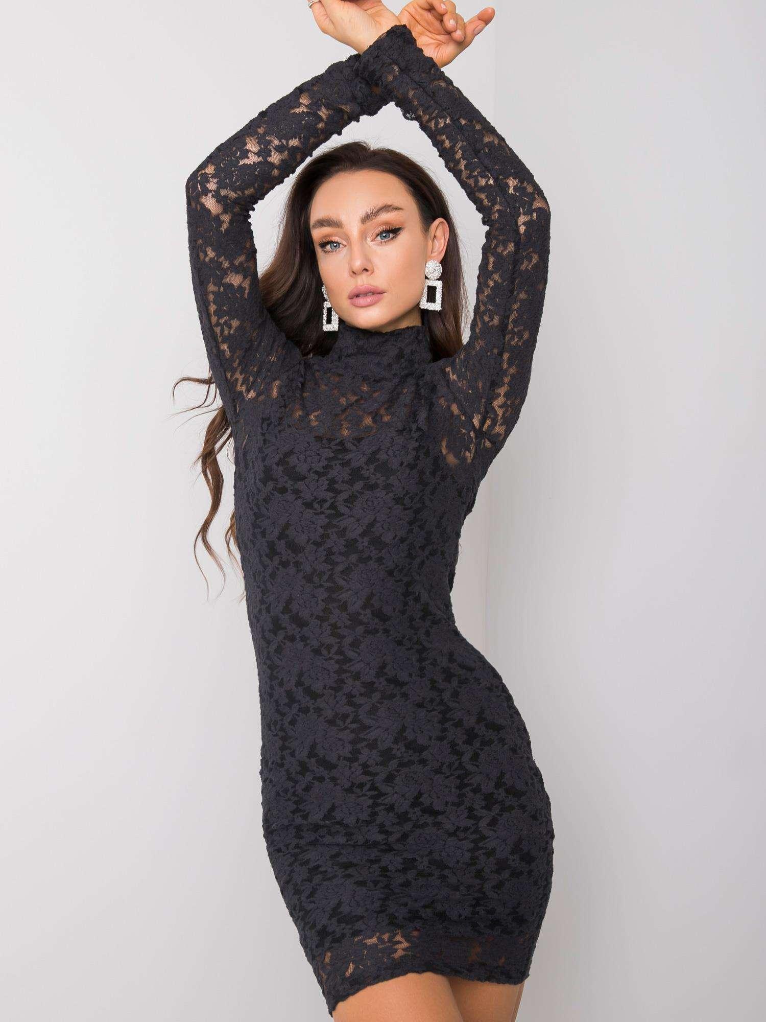 Čierne čipkované šaty s dlhým rukávom - S