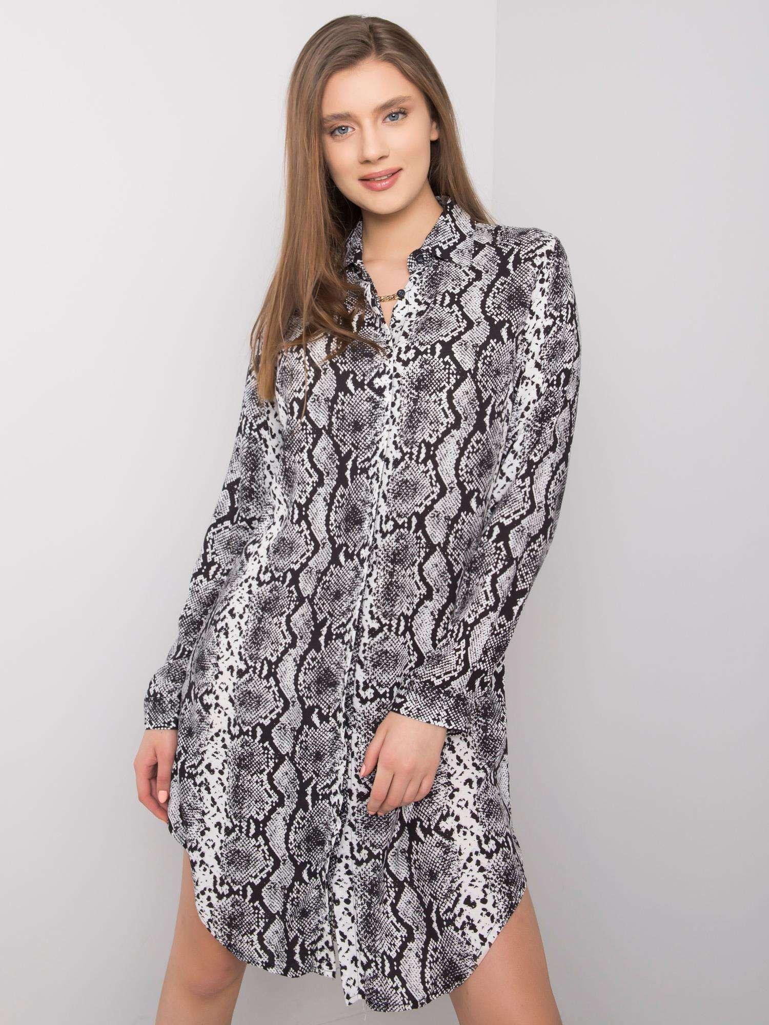 Košeľové čierno-biele šaty s hadím vzorom - L