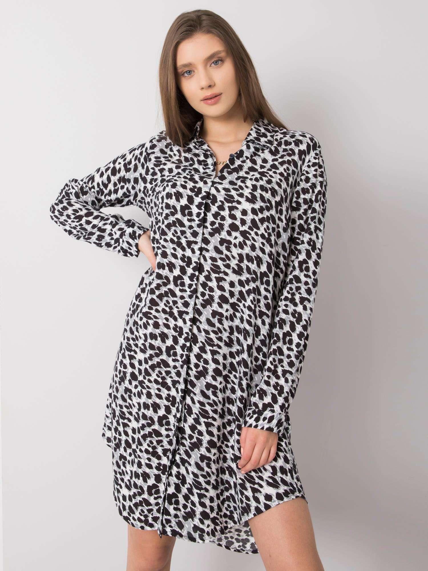 Košeľové čierno-biele šaty s bodkovaným vzorom - L