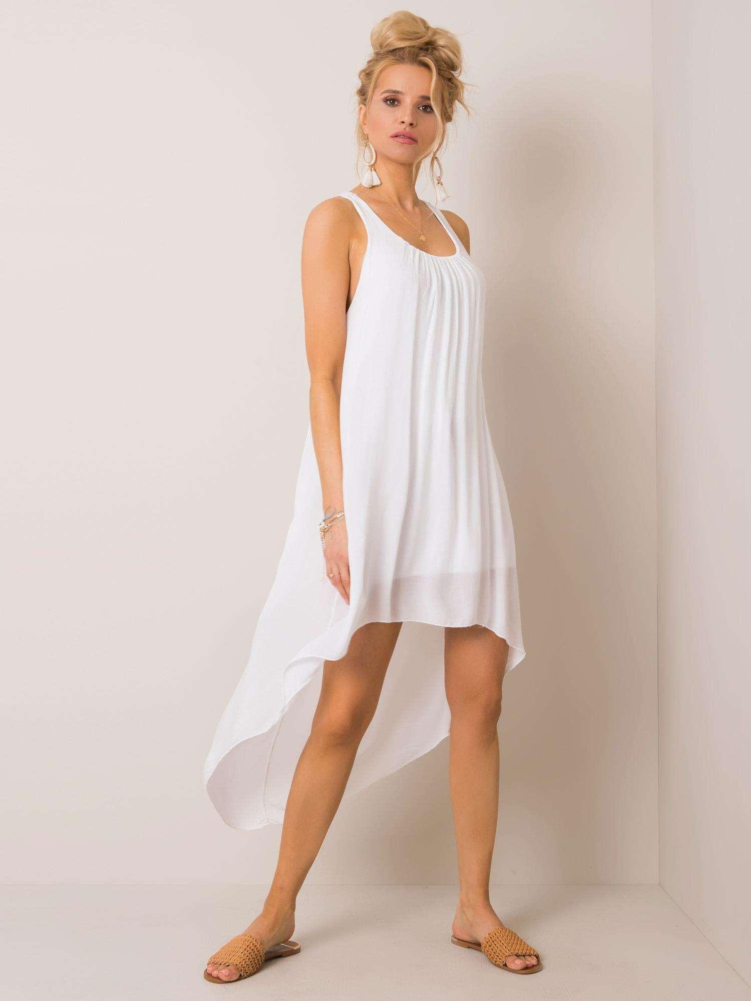 Asymetrické biele šaty s čipkou - S