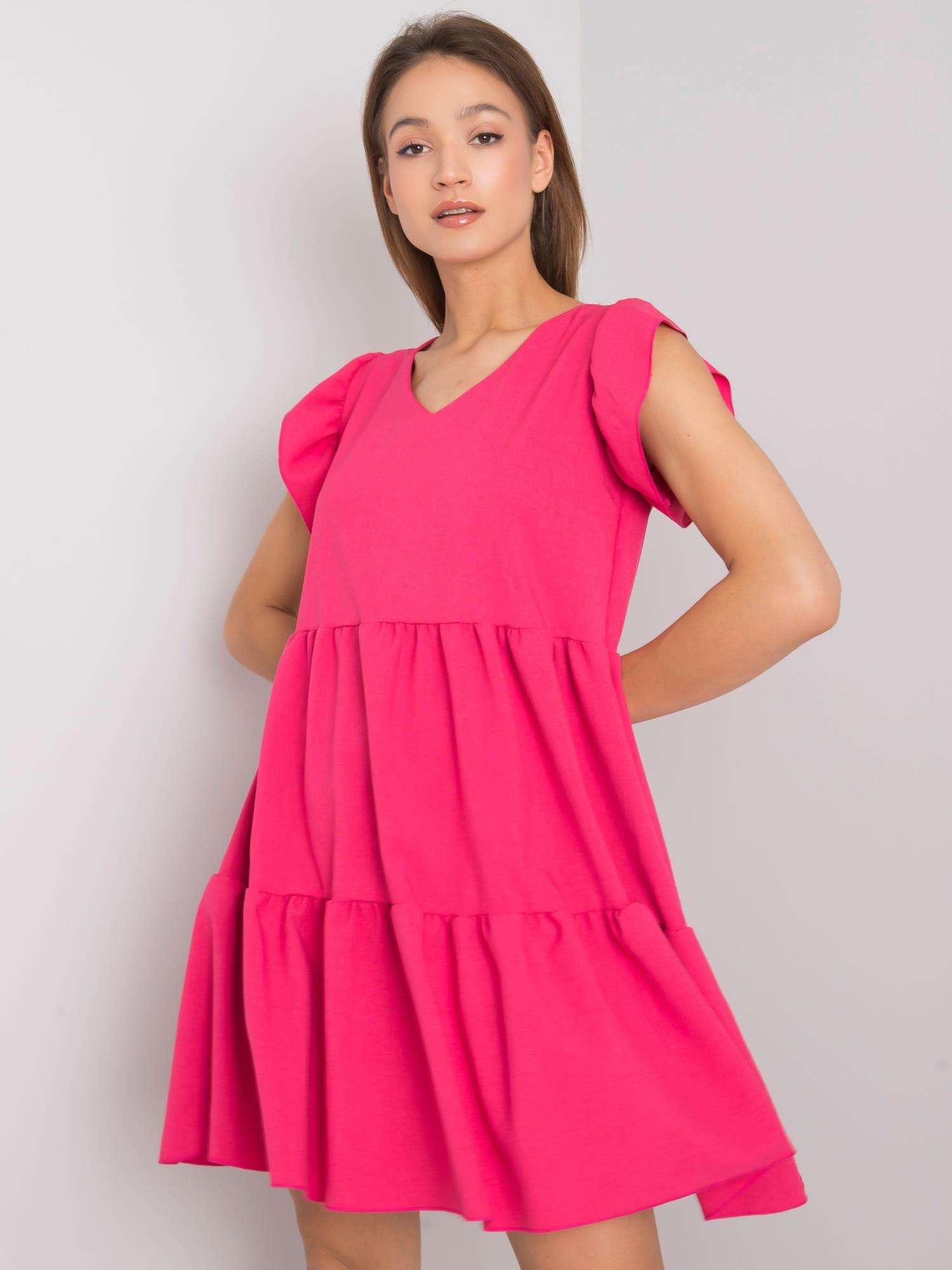 Vzdušné krátke ružové šaty s volánmi - M