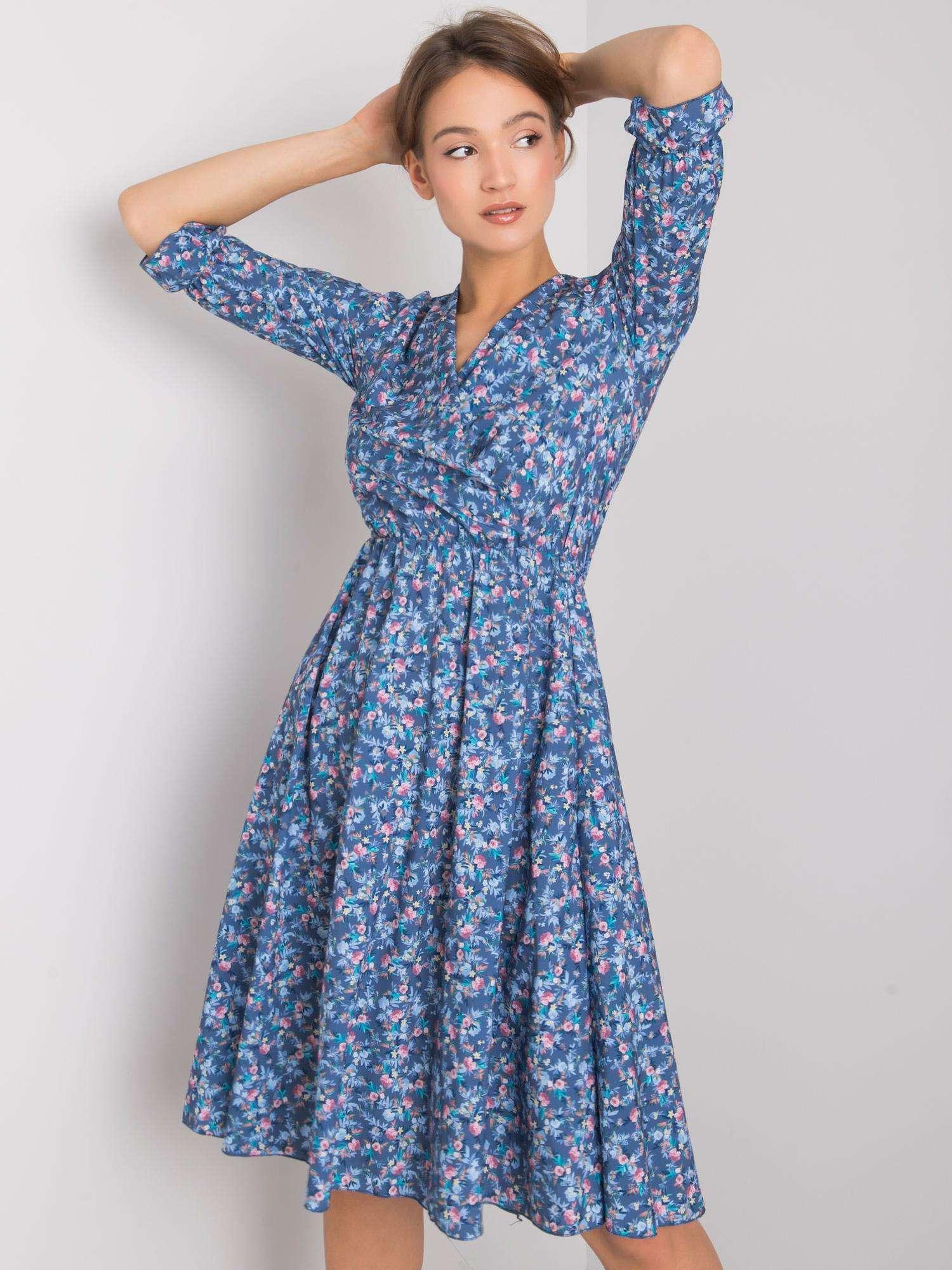 Dámske modré kvetinové šaty - M