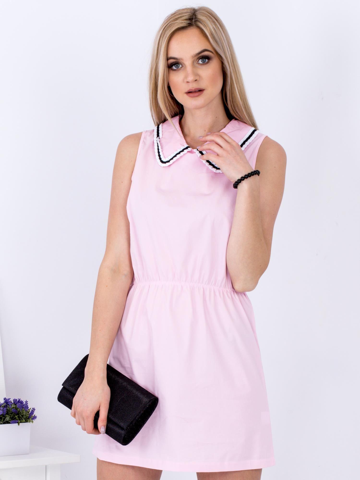 Ležérne dámske ružové šaty s golierom - S