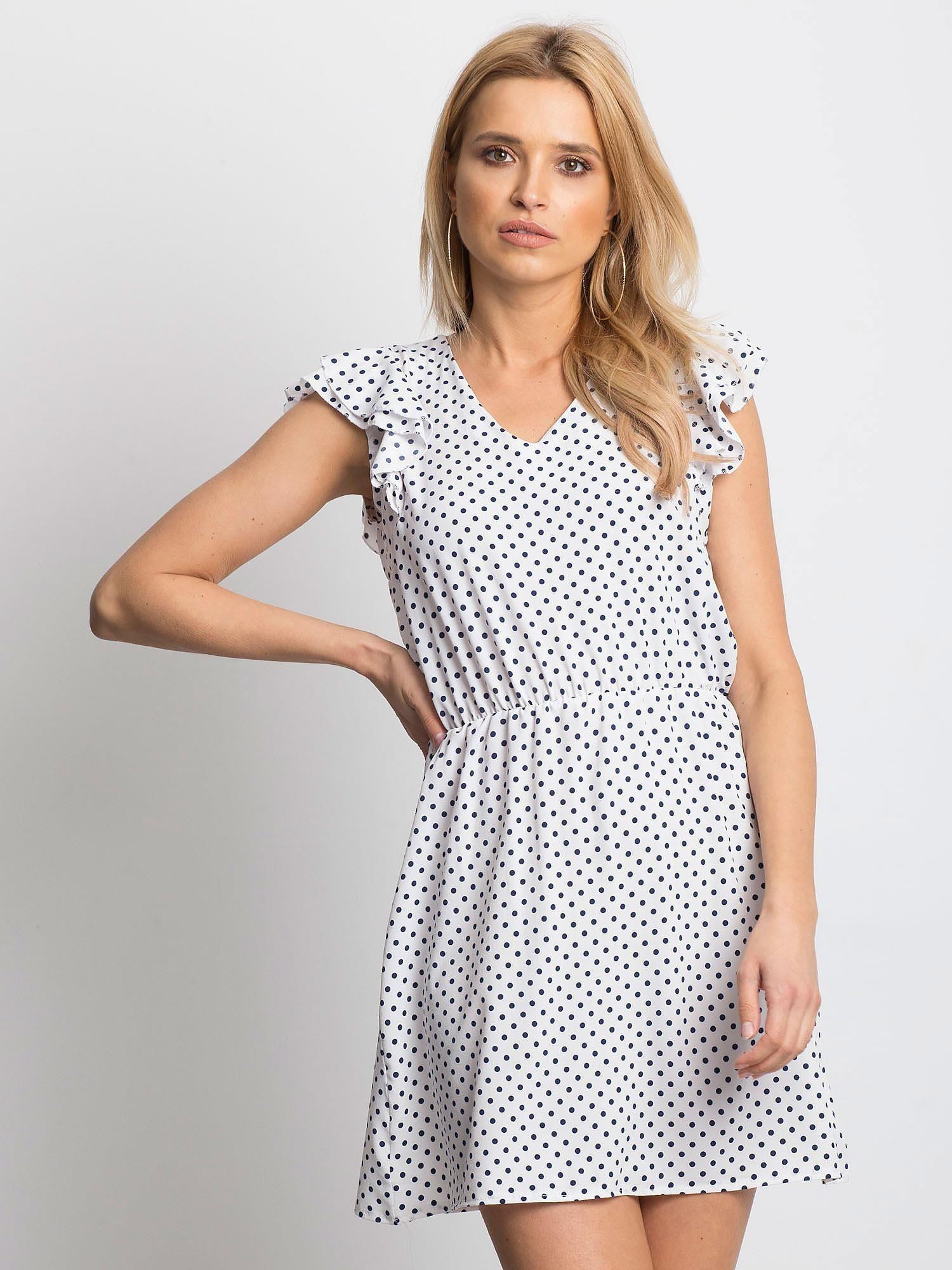 Čierno-biele bodkované šaty s výstrihom do V - L/XL