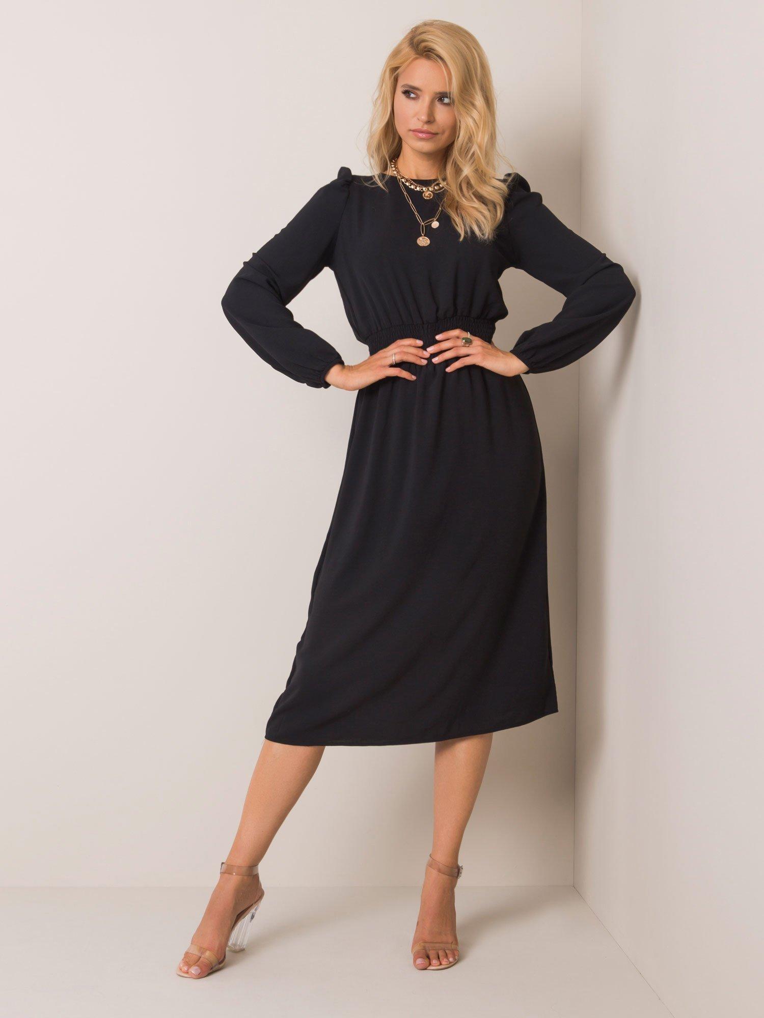 Čierne dámske midi šaty - S