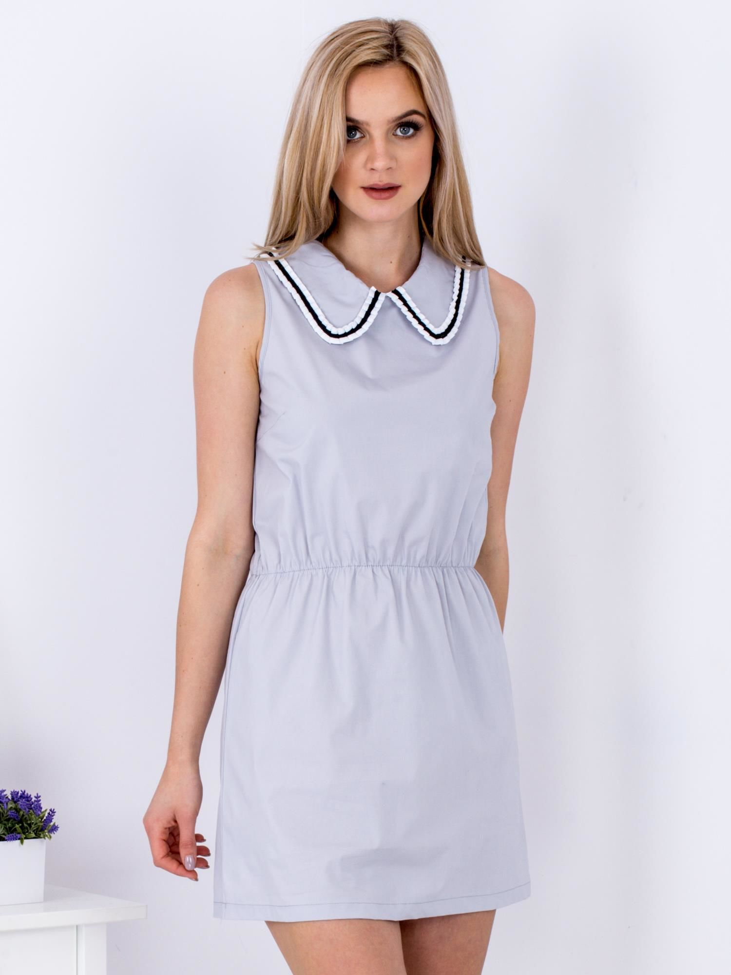 Ležérne dámske sivé šaty s golierom - S