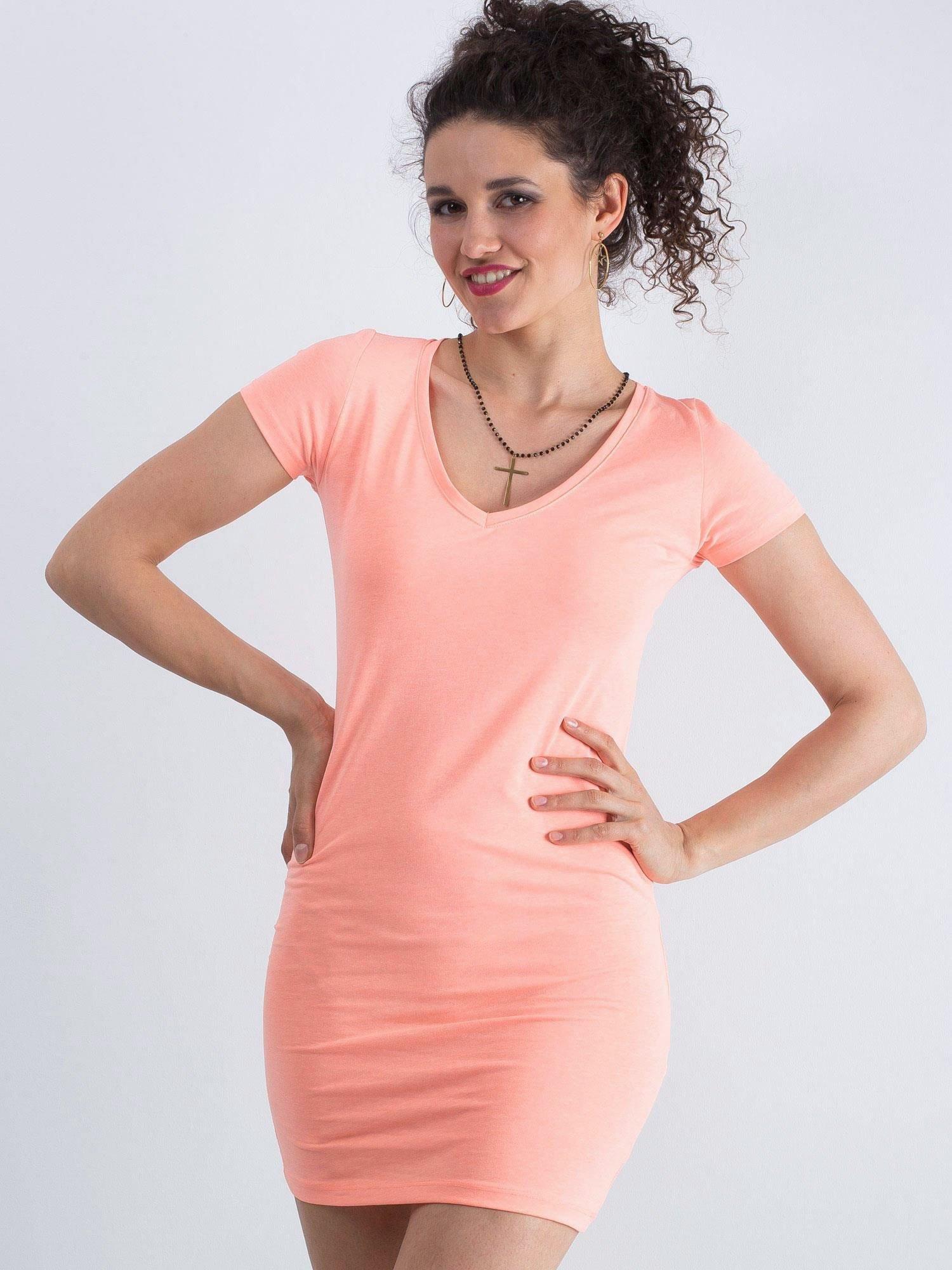 Bavlnené oranžové šaty s výstrihom do V - L