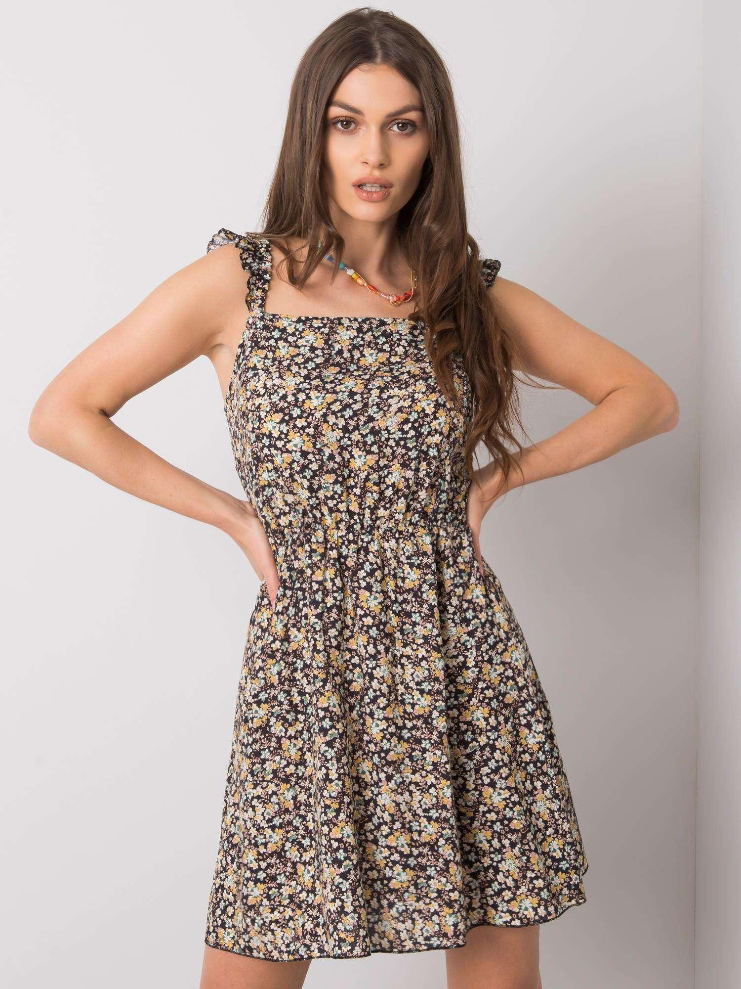 Čierne kvetinové šaty na ramienka - S