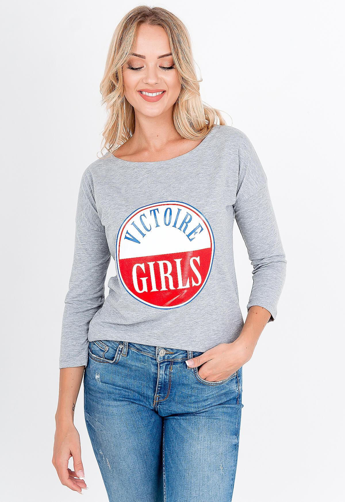Sivé dámske tričko s potlačou - UNI