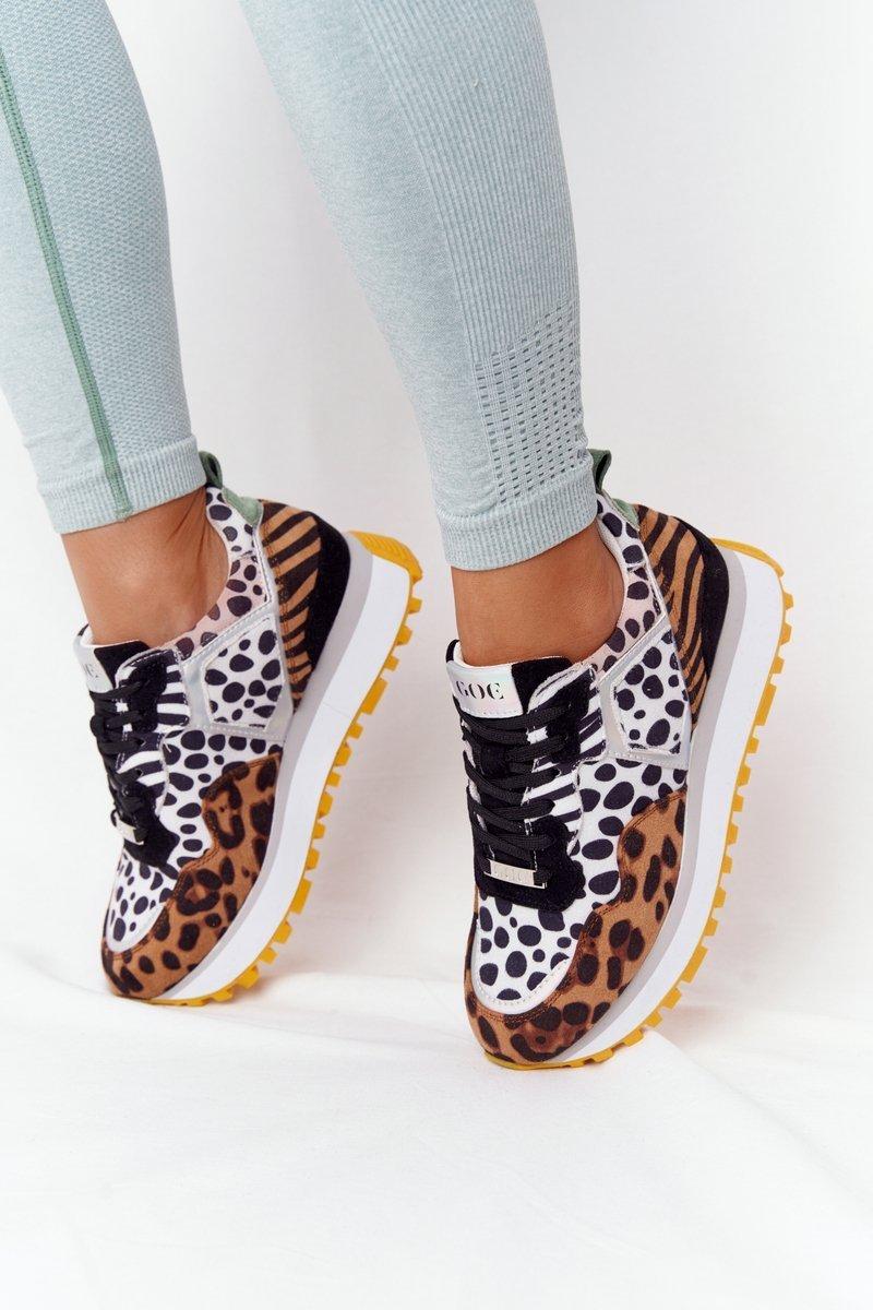 Čierne kožené tenisky s leopardím vzorom - 37