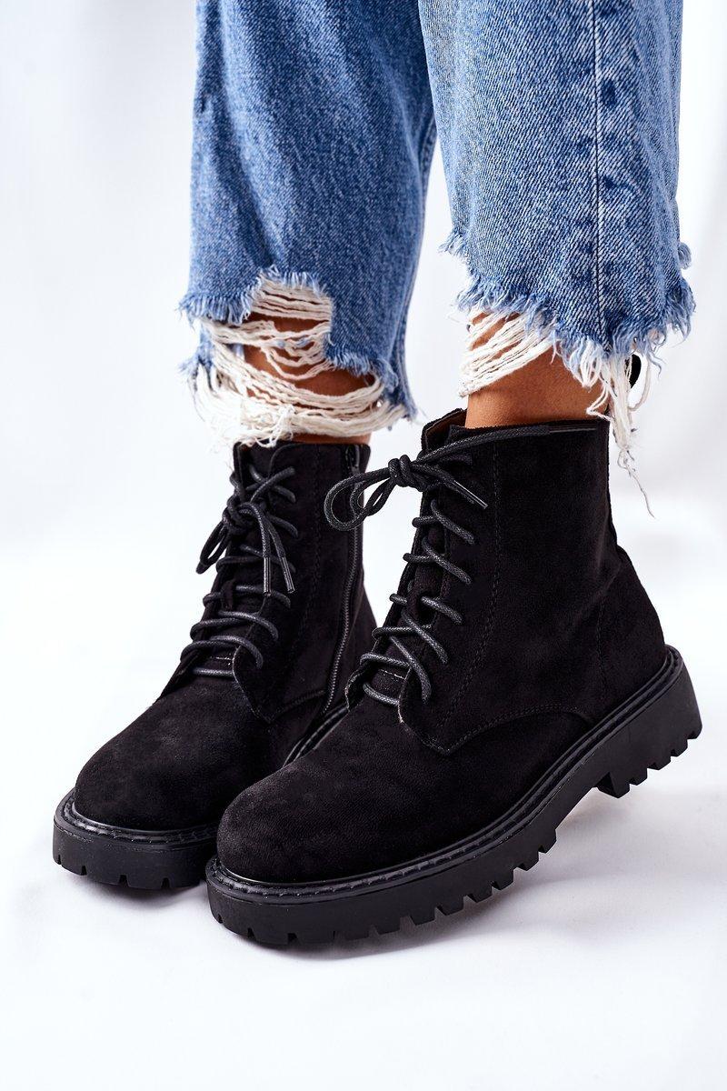 Čierne semišové členkové topánky - 39