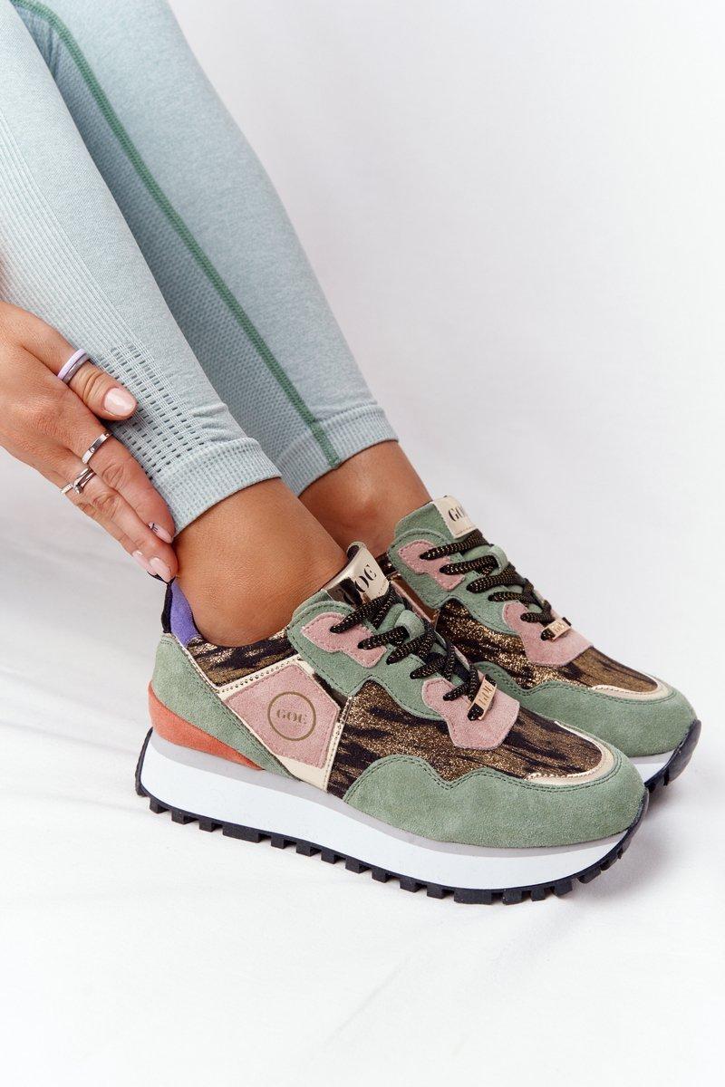 Zelené semišové tenisky - 36