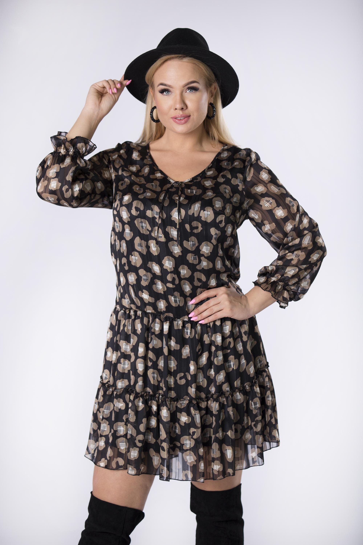 Šifónové čierne volánové šaty s viazaním vo výstrihu - 38