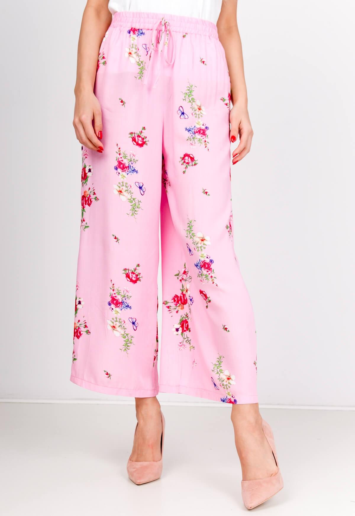 Vzdušné ružové kvetované nohavice