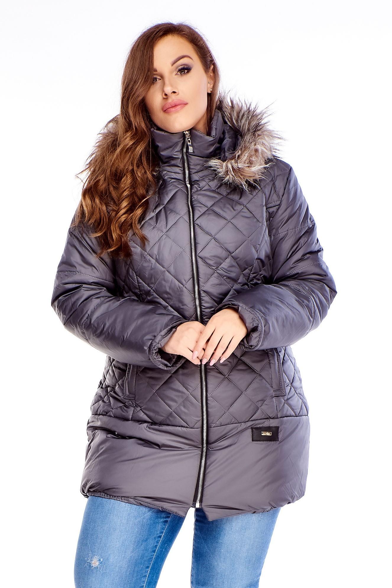 Sivá zimná bunda s kožušinkou - 38