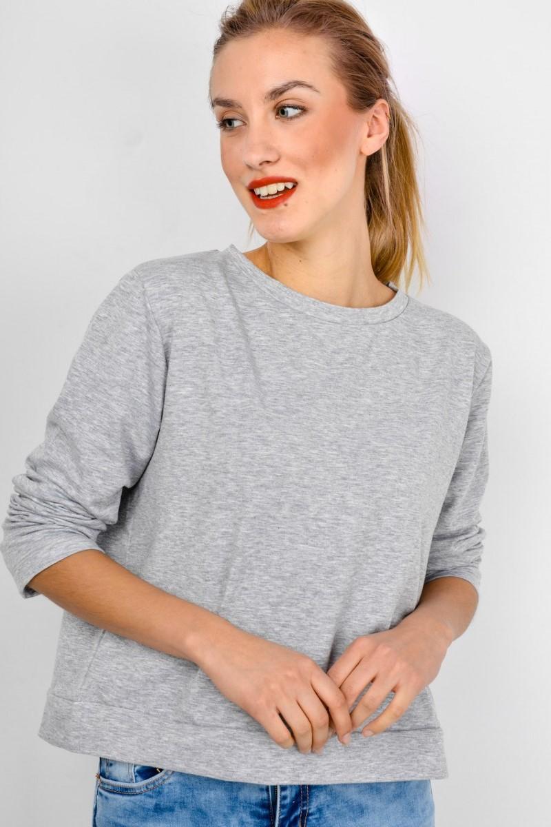 Sivé dámske tričko s dlhým rukávom