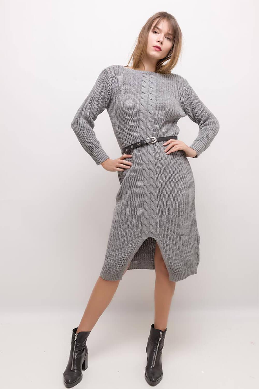 Sivé polodlhé pletené šaty s opaskom
