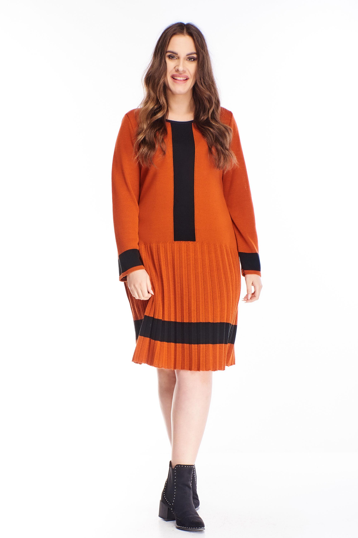 Polodlhé oranžové svetrové šaty