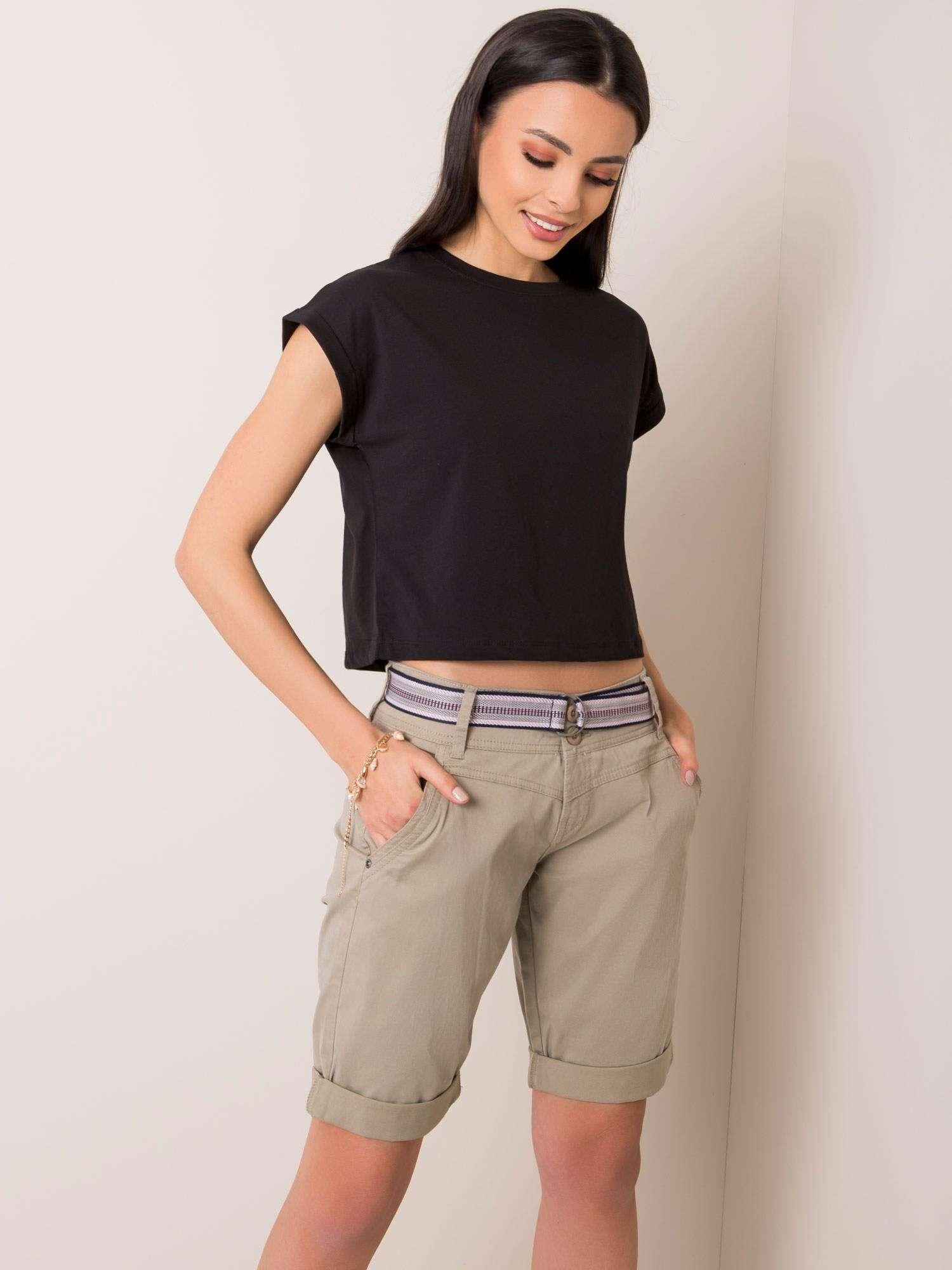 Bavlnené olivové šortky s opaskom - XS