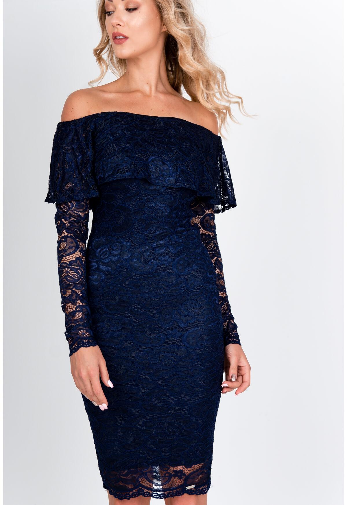 Elegantné tmavo-modré šaty v španielskom štýle - M