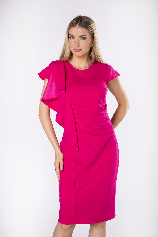 Ružové spoločenské šaty s nariasením - 36
