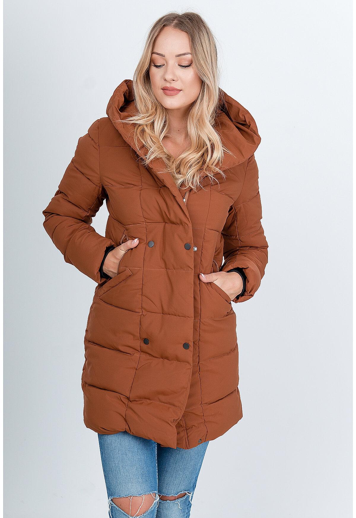 Zimná hnedá prešívaná bunda