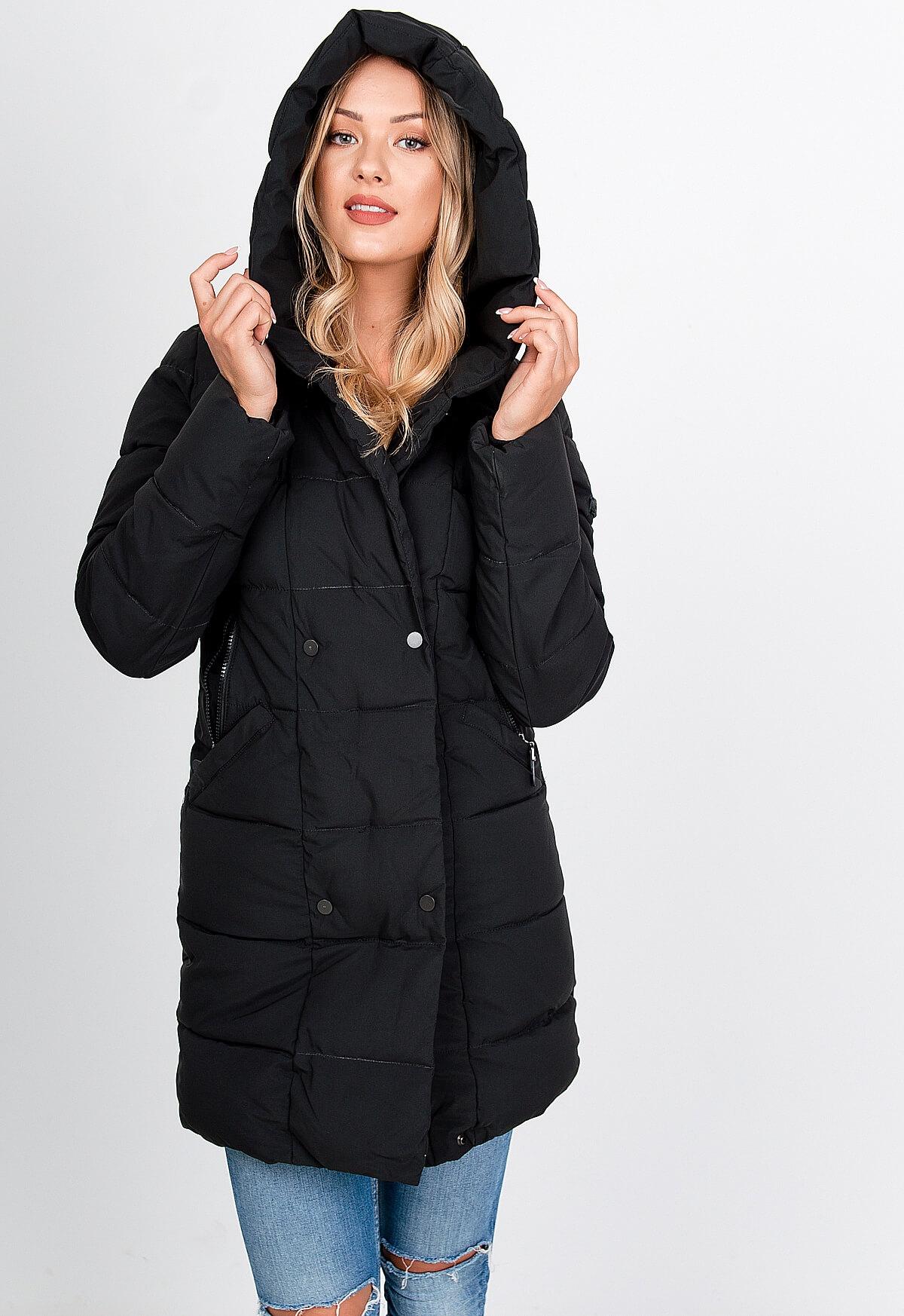 Zimná čierna prešívaná bunda - XXL