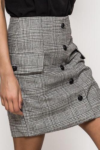 Štýlová kockovaná mini sukňa s imitáciou gombíkov