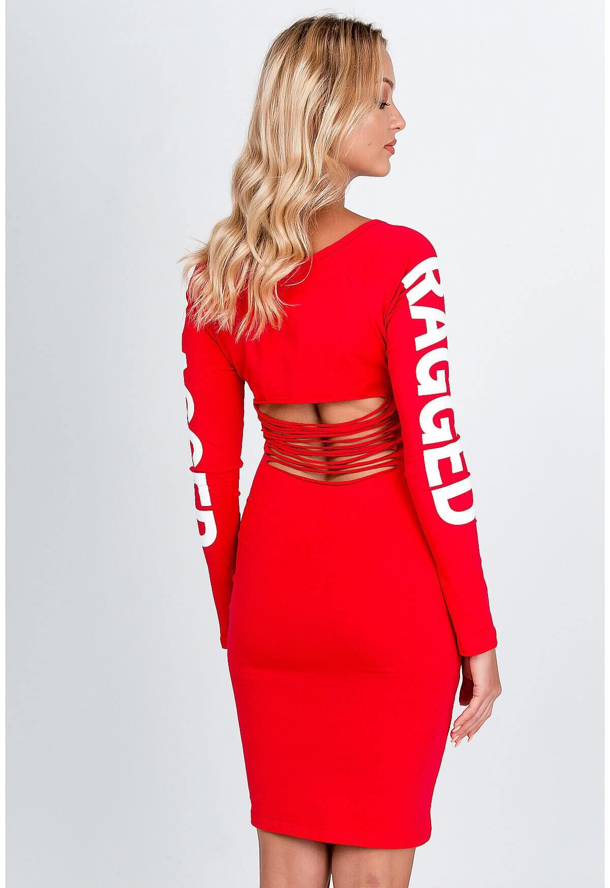 Štýlové krátke červené šaty s nápisom
