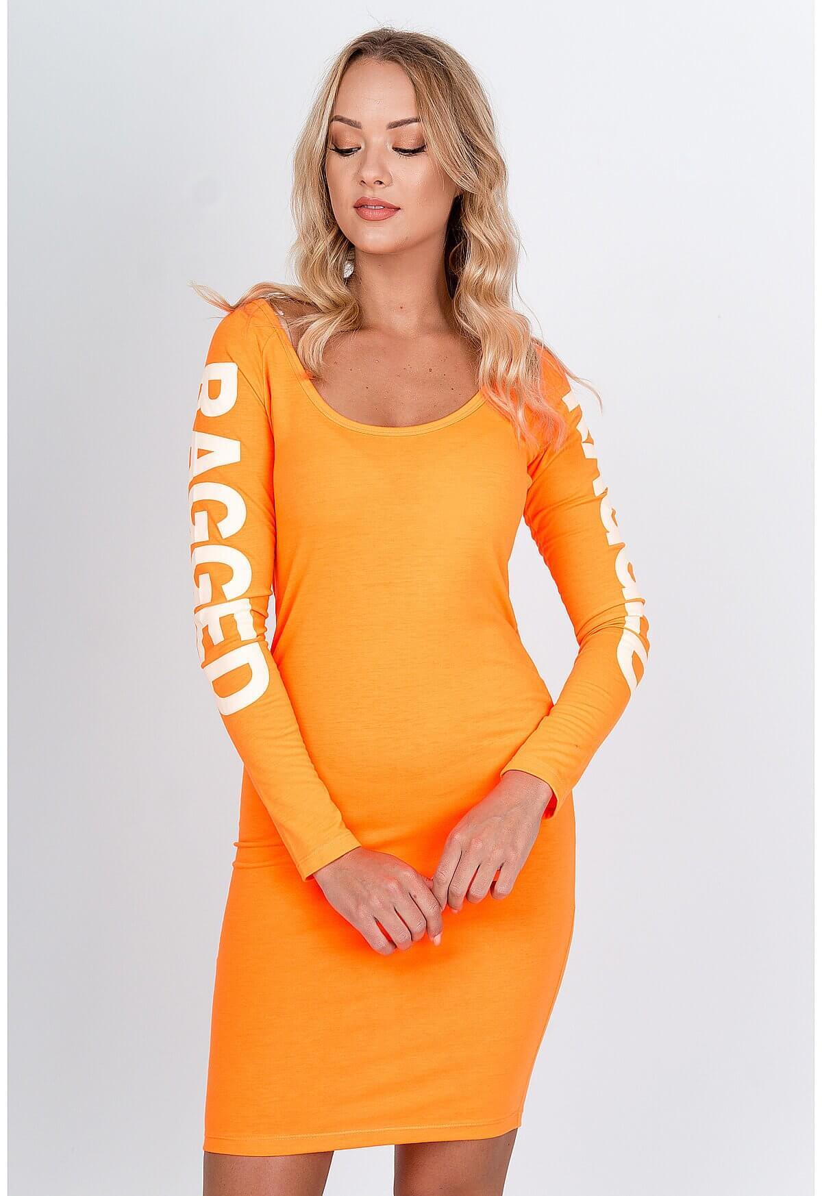 Štýlové krátke oranžové šaty s nápisom - UNI