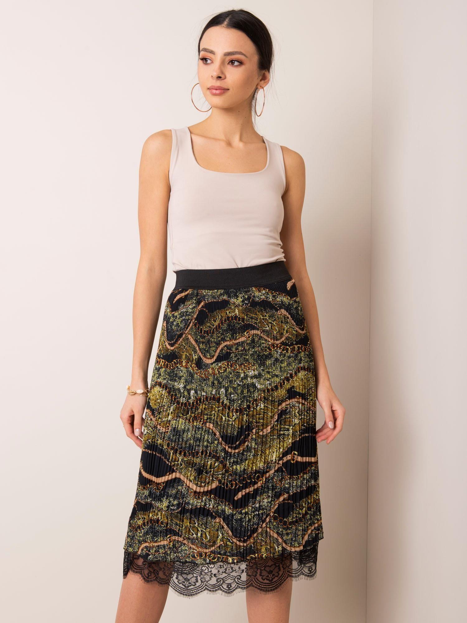 Čierna vzorovaná midi sukňa - L