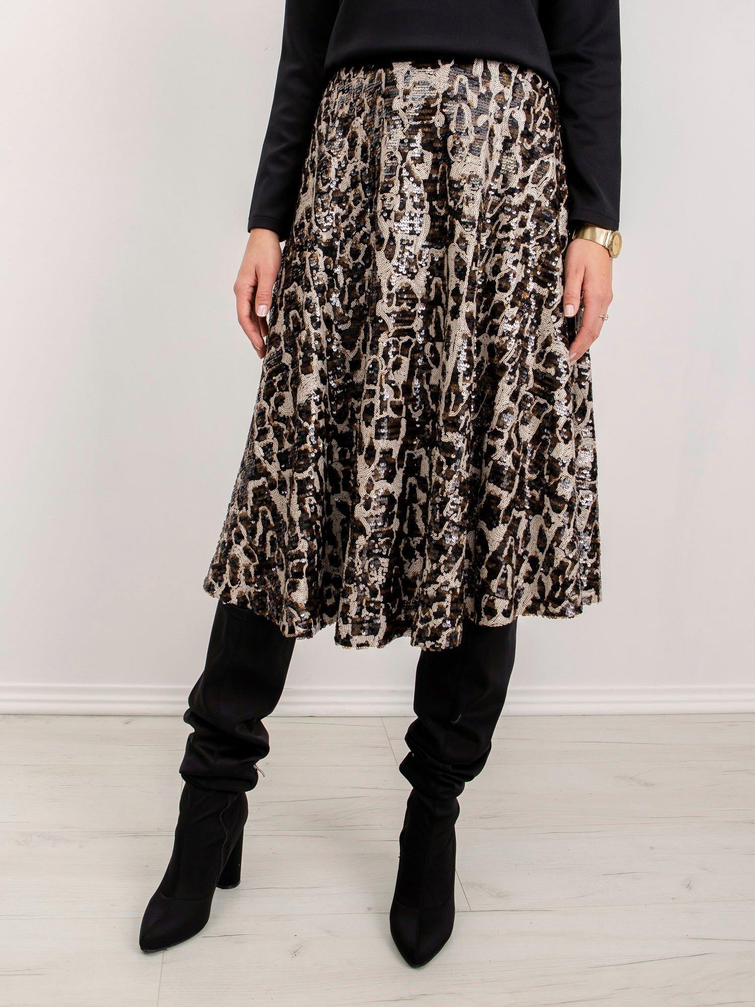 Čierna polodlhá sukňa so zvieracím vzorom - L