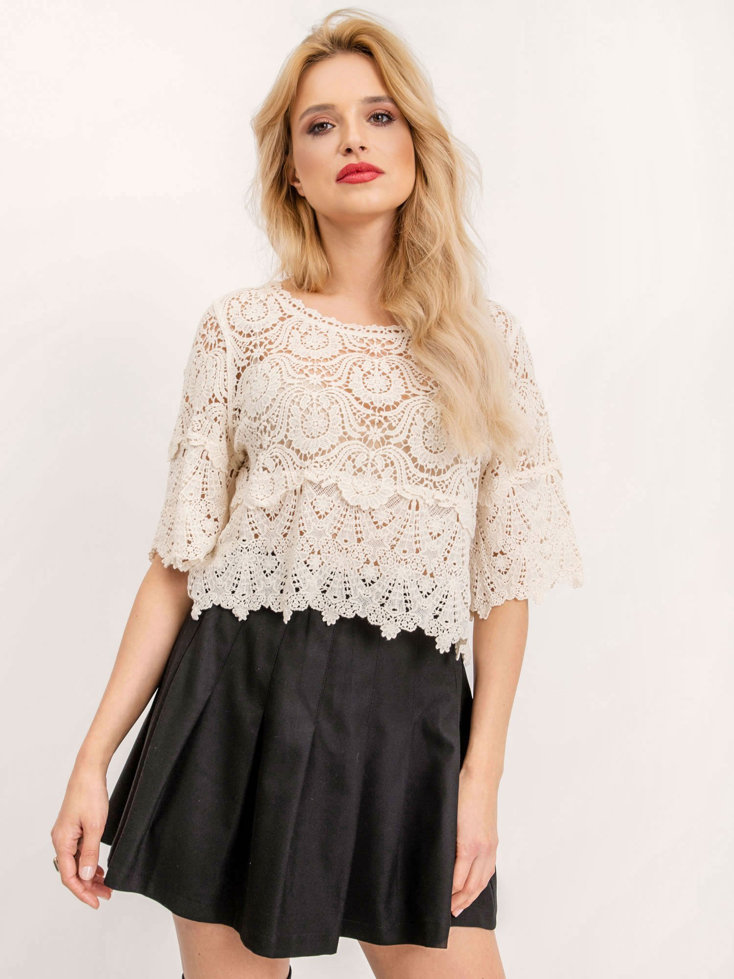 Čierna skladaná mini sukňa - S