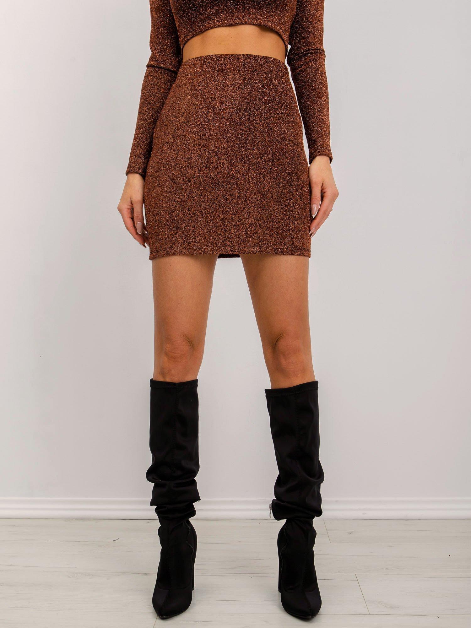 Tmavohnedá puzdrová mini sukňa - XS