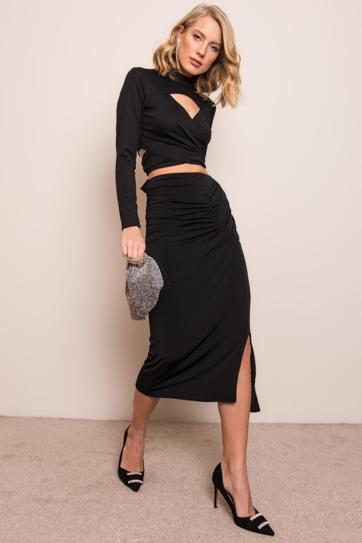 Čierna asymetrická midi sukňa - S