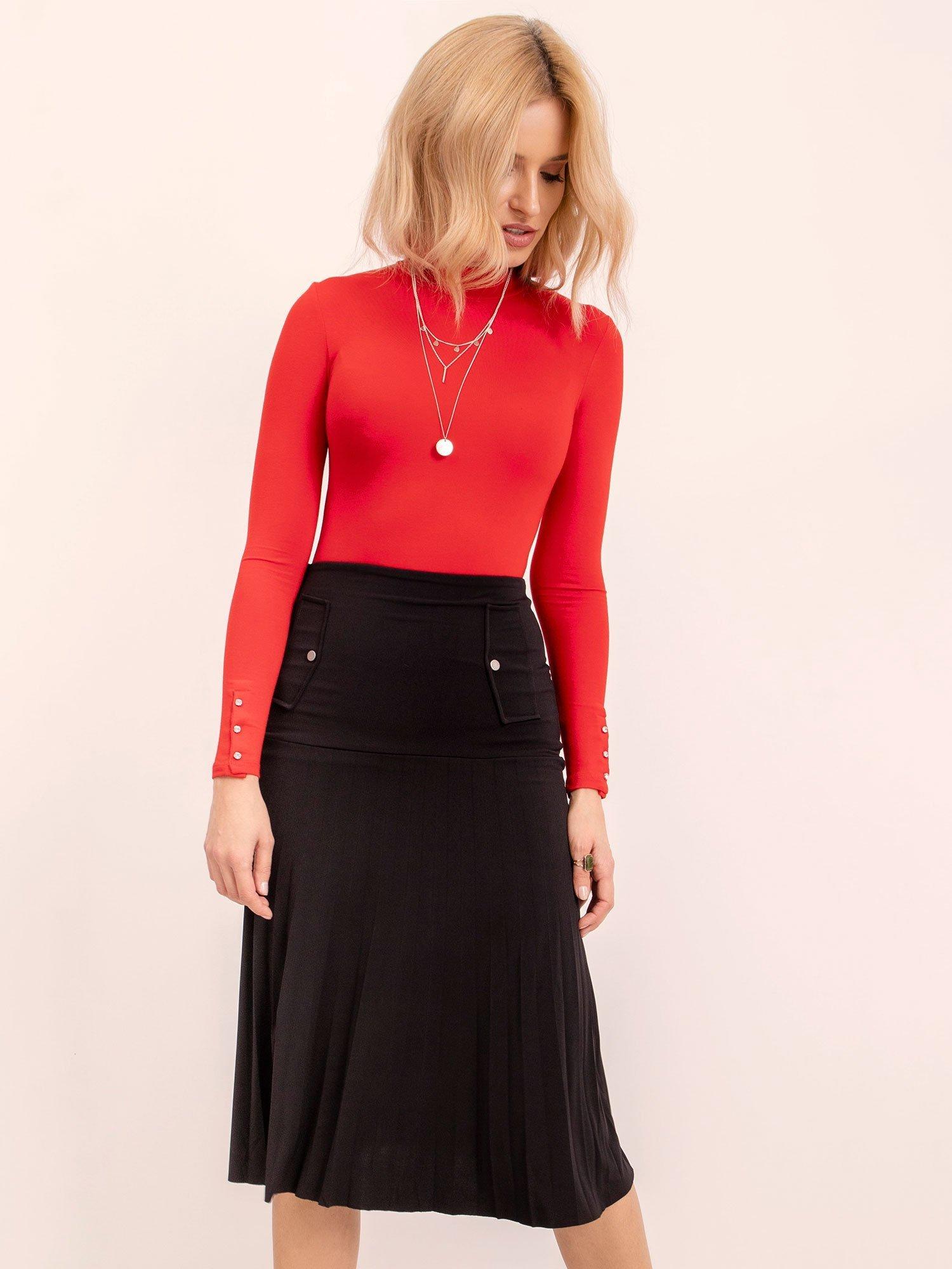 Polodlhá čierna sukňa s vreckami - S