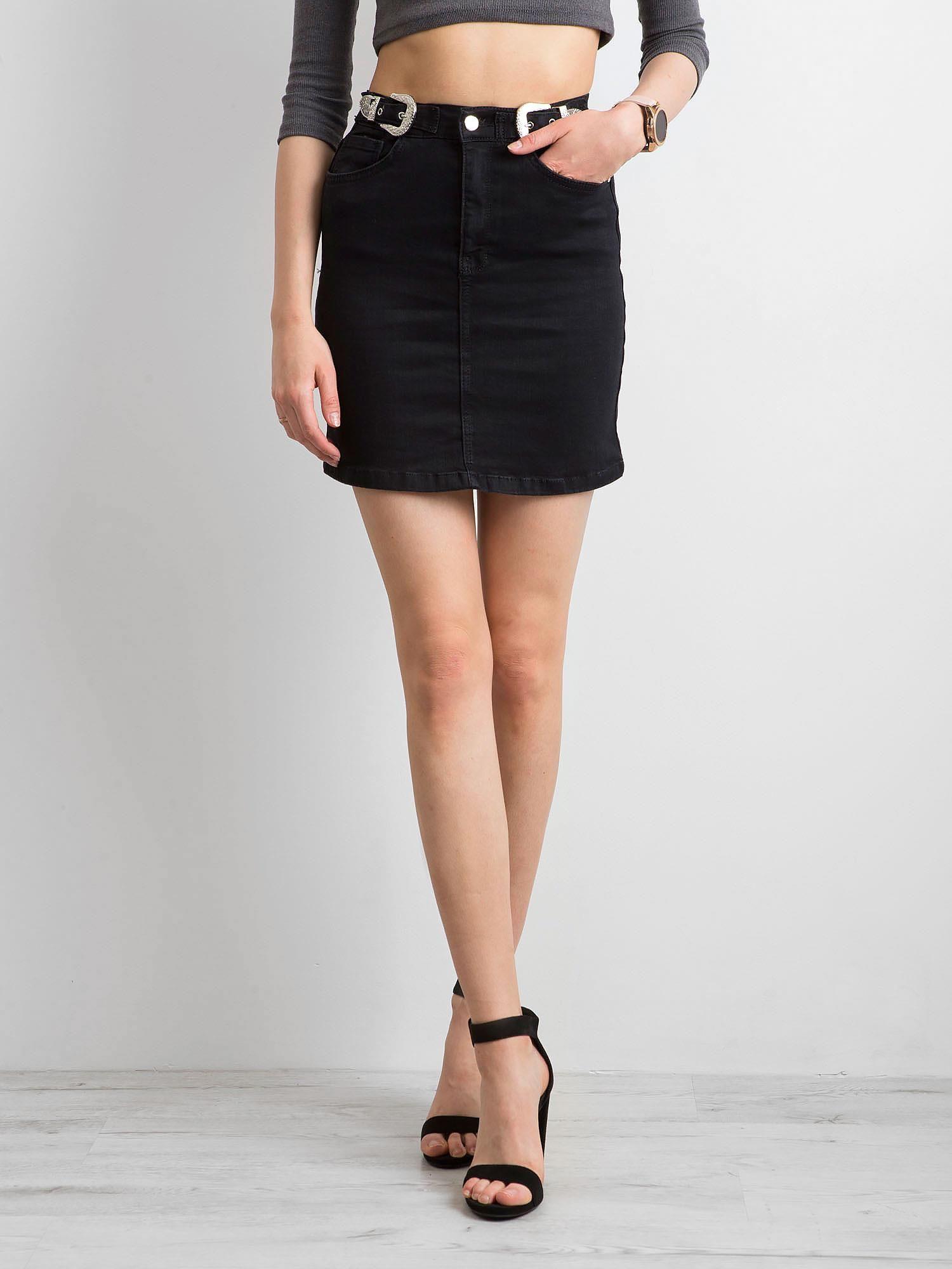 Čierna denimová sukňa s vreckami - 36
