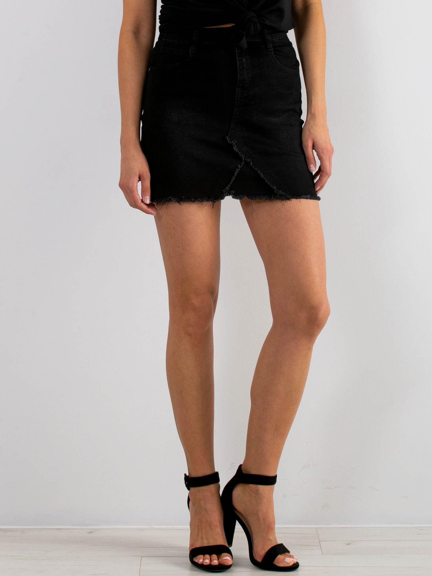 Čierna džínsová minisukňa - 36
