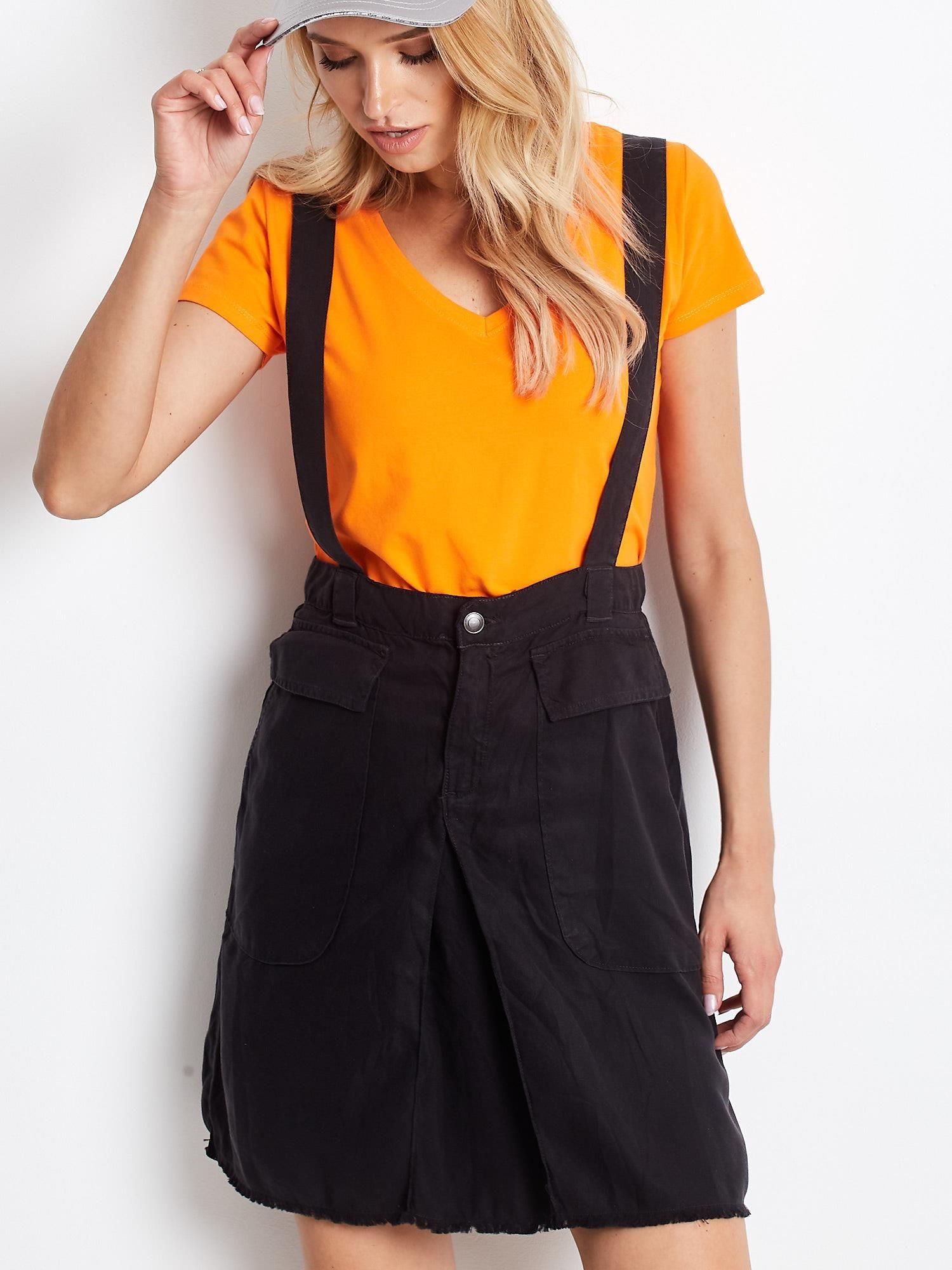 Čierna krátka sukňa s trakmi - L