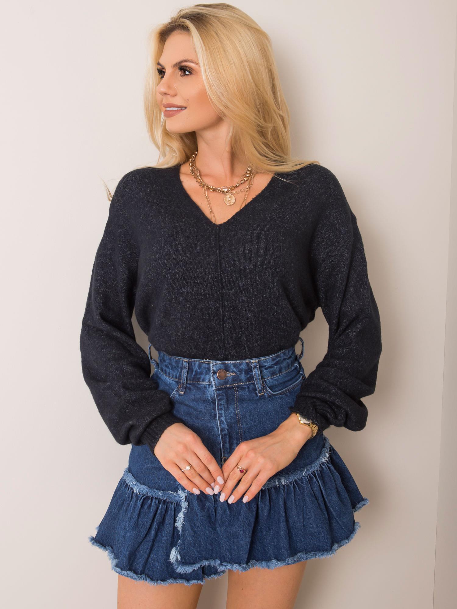 Dámsky modrý sveter s výstrihom do V - S