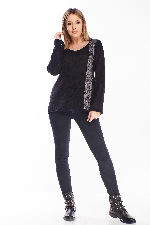 Čierny sveter s čipkou - UNI