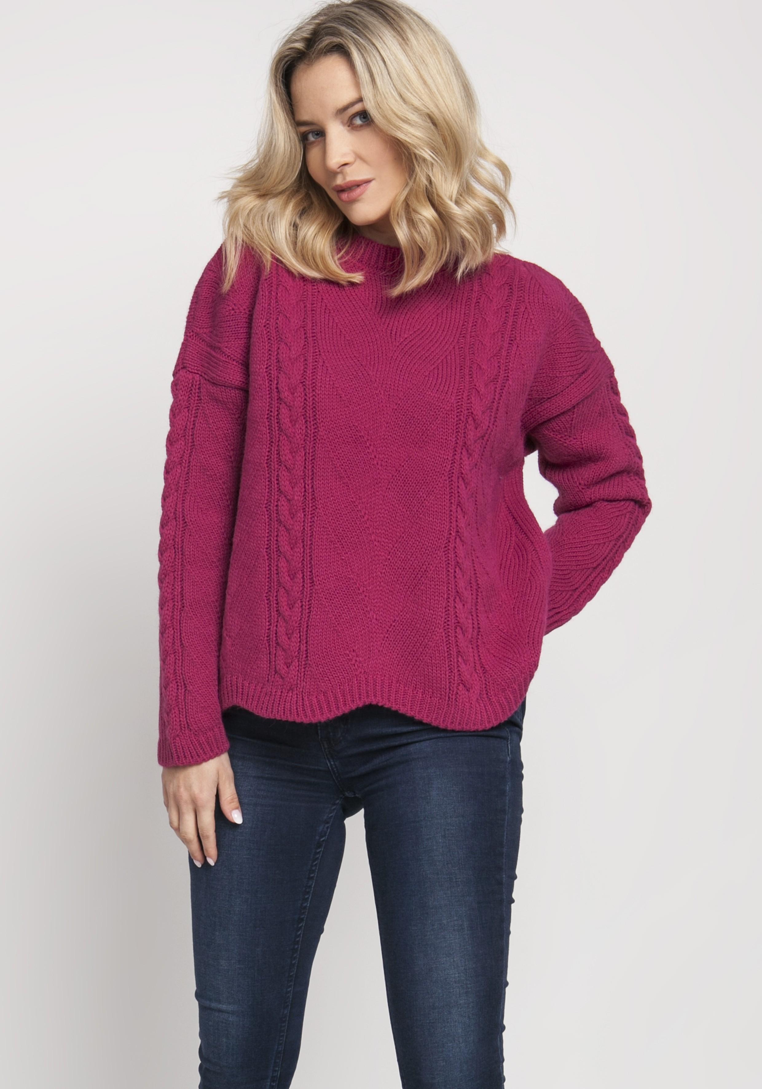 Ružový krátky sveter s pleteným vzorom - S/M