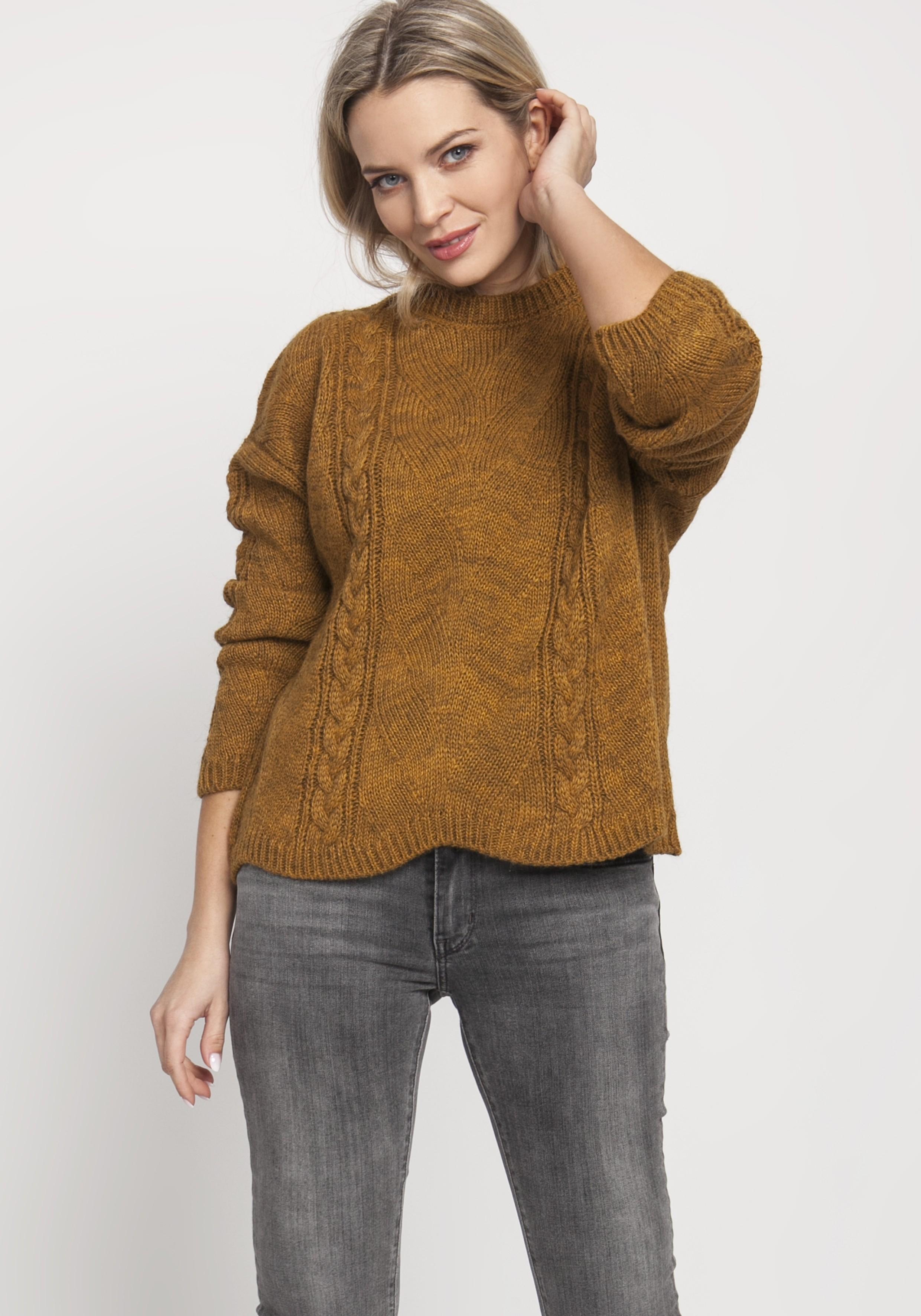 Horčicový krátky sveter s pleteným vzorom - S/M