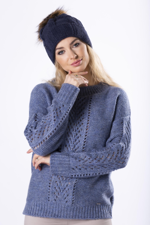 Dámsky modrý pletený sveter s prešívaním - UNI