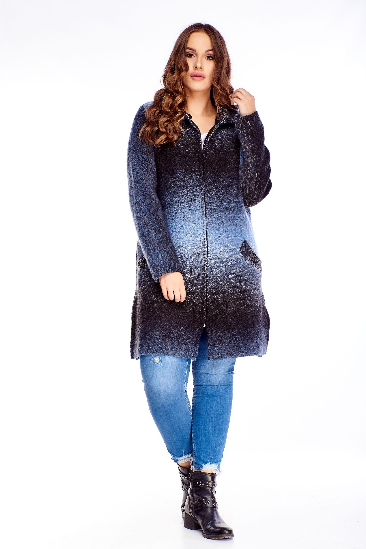 Melírovaný modro-čierny dlhý sveter na zips - L