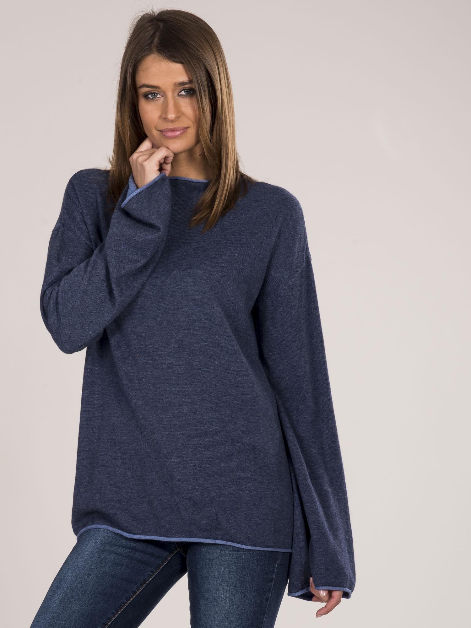 Modrý dámsky sveter so širokými rukávmi - S