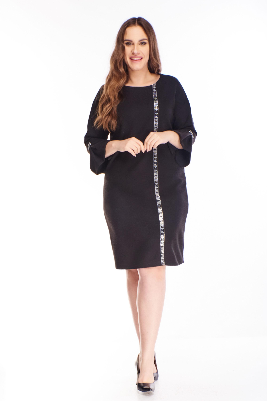 Koktejlové šaty s lesklým pruhom v čiernej farbe - 42