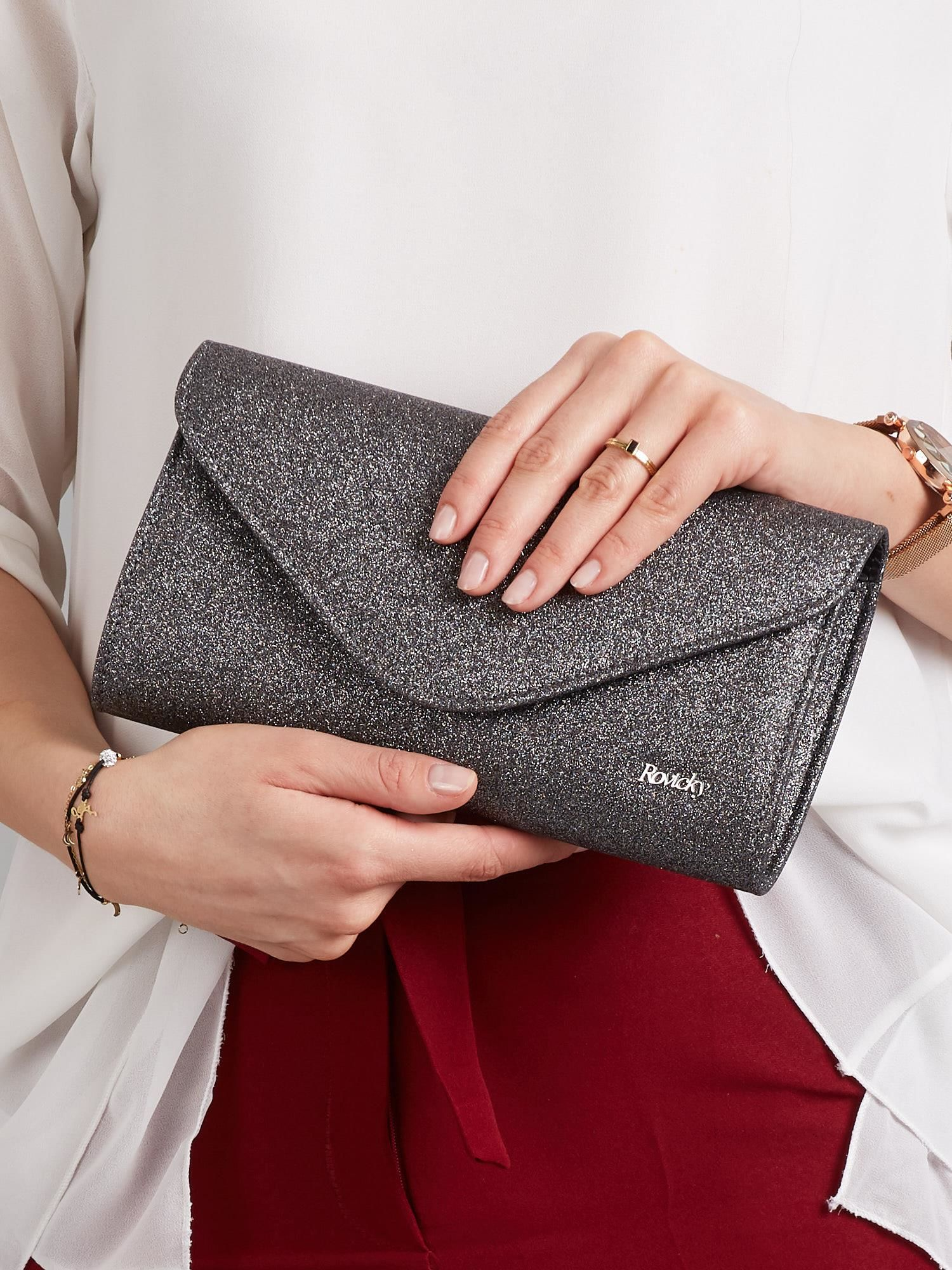 Čierna lesklá listová kabelka - UNI