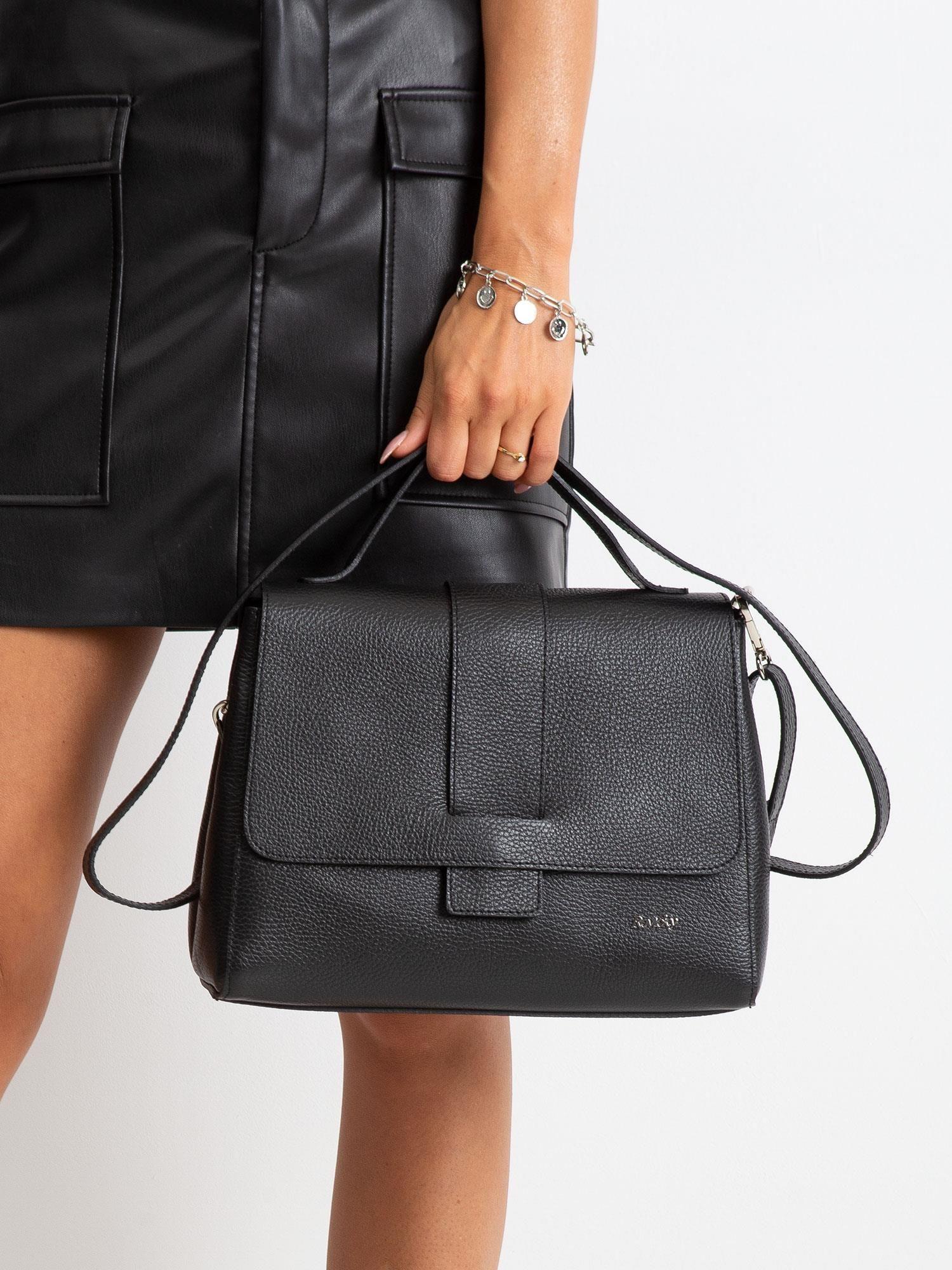 Čierna kožená kabelka - UNI